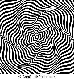 movement., ondulado, rotação, ilusão