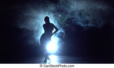 Movement rumba, salsa, latin dance performed by women. Slow motion