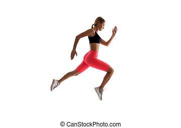 movement., runner., dinámico, fit., aislado, o, moderno,...
