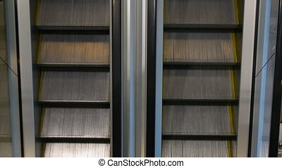 Movement up and down escalators 4K