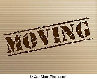 movendo casa, mostra, mudança, de, residência, e,...