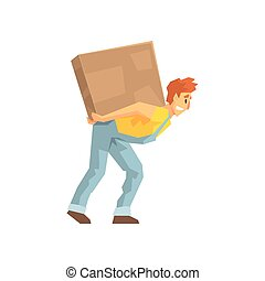 Mover Carrying A Large Box On His Back, Delivery Company Employee Delivering Shipments Illustration