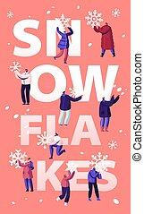 mover pala, bandera, folleto, gente, plano, actividad, aviador, feliz, nieve, calle, tiempo, ilustración, limpieza, el quitar, pala, utilizar, invierno, caricatura, vector, cartel, road., concept., snowblower, nevada