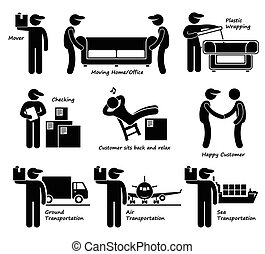 A set of human pictogram representing the mover services and transportation available.