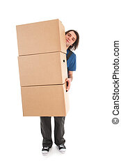 Mover with boxes - Mover with big stack of heavy boxes