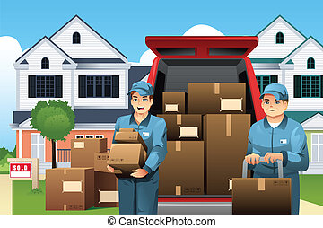 Movers carrying boxes - A vector illustration of moviers ...