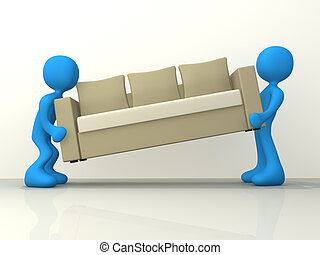 Computer generated image - People moving a sofa