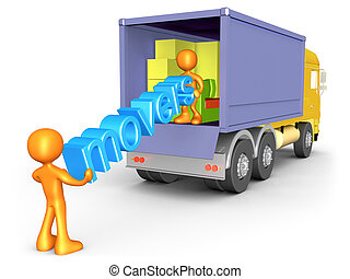 Movers - 3d people unloading a cargo truck .