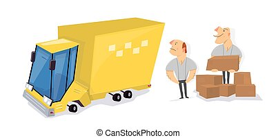 Movers load boxes into a truck. Transport service.