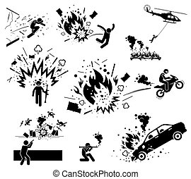 Vector of man escape from bomb explosion with motorcycle, jump away, hang on helicopter, and smash through glass. Hero destroy things with bazooka bomb and gun.