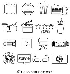 movie and cinema vector simple outline icons set eps10