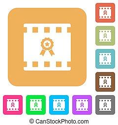 Movie award rounded square flat icons