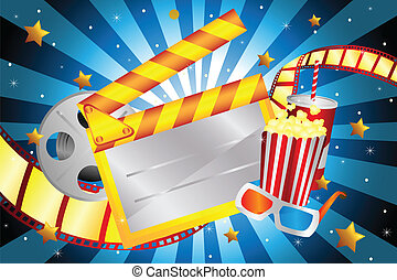 A vector illustration of bright movie background