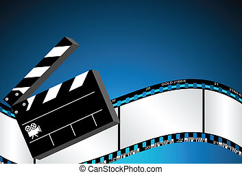 Movie Background with clapboard and film negative.