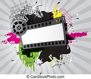 Movie background with film strip, vector