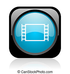 movie reviews glossy blue reflected square button