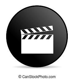 movie black circle web glossy icon