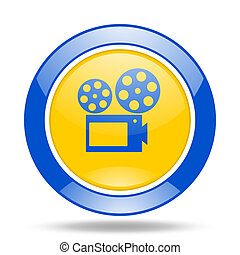movie blue and yellow web glossy round icon