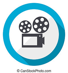 Movie blue flat design web icon