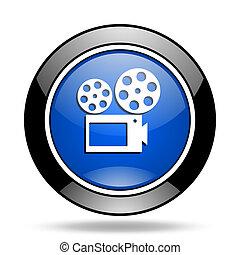movie blue glossy icon