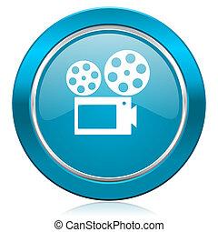 movie blue icon cinema sign
