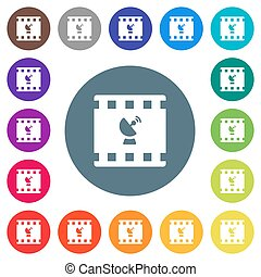 Movie broadcasting flat white icons on round color backgrounds