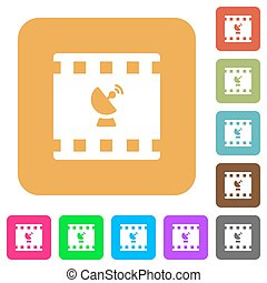 Movie broadcasting rounded square flat icons
