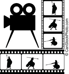 movie camera and films. vector illustration