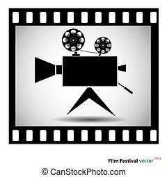 Movie camera at film strip isolated on a white background. stock vector illustration.