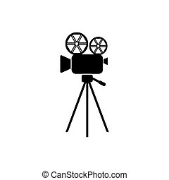 Black vector retro movie camera icon isolated