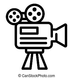 Movie camera icon, outline style
