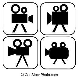 movie camera, tekens & borden