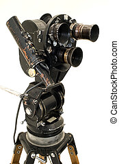 movie camera, tripod.