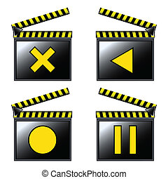 movie cinema clapboard icons