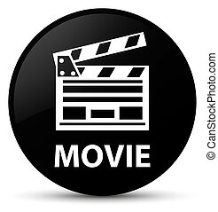 Movie (cinema clip icon) black round button