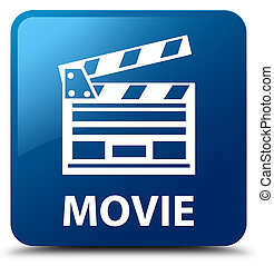 Movie (cinema clip icon) blue square button