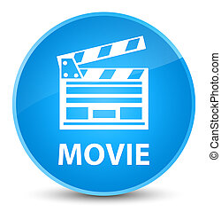 Movie (cinema clip icon) elegant cyan blue round button