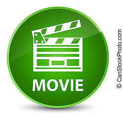 Movie (cinema clip icon) elegant green round button
