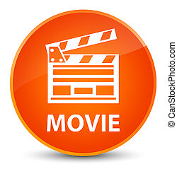 Movie (cinema clip icon) elegant orange round button