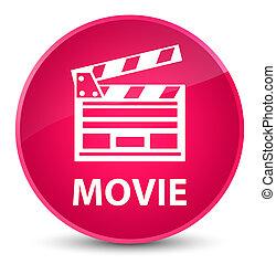 Movie (cinema clip icon) elegant pink round button