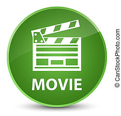 Movie (cinema clip icon) elegant soft green round button
