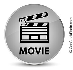 Movie (cinema clip icon) elegant white round button