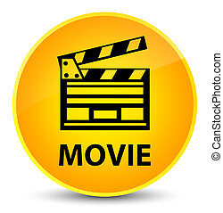 Movie (cinema clip icon) elegant yellow round button