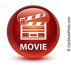 Movie (cinema clip icon) glassy brown round button