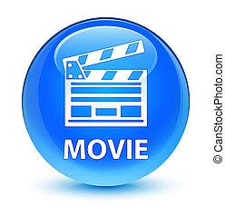 Movie (cinema clip icon) glassy cyan blue round button