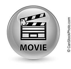 Movie (cinema clip icon) glassy white round button