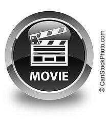 Movie (cinema clip icon) glossy black round button