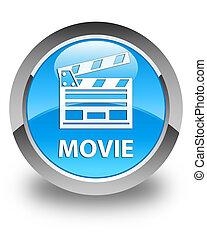 Movie (cinema clip icon) glossy cyan blue round button