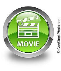 Movie (cinema clip icon) glossy green round button