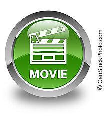 Movie (cinema clip icon) glossy soft green round button